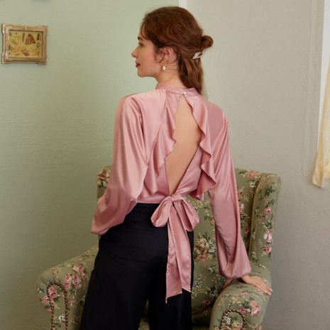 Fashion pink silk backless sexy women wholesale NHDE257805's discount tags