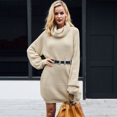 Fashionable belted knit long woollen dress  NHDE257806's discount tags