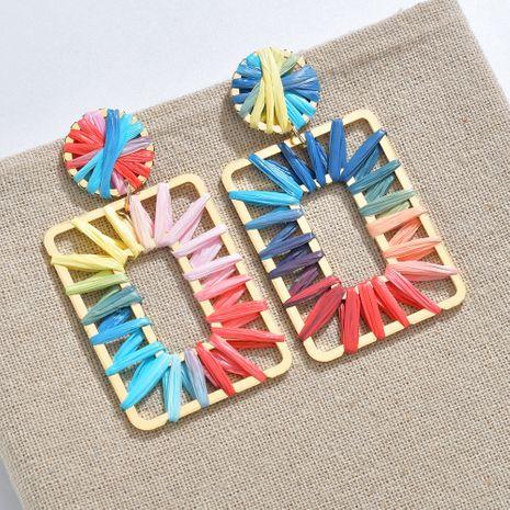 Farbe Mode Regenbogen bunte Bast Ohrringe NHBQ257832's discount tags
