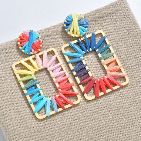 Color fashion  rainbow colorful raffia earrings NHBQ257832's discount tags