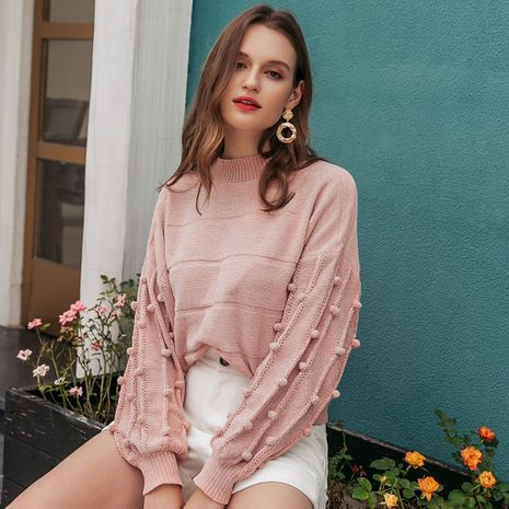 Fashion pink lantern sleeve blouse wholesale NHDE257812's discount tags
