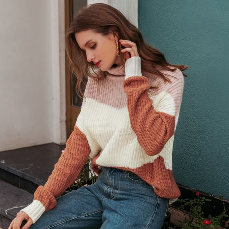 Fashion white and pink turtleneck sweaters wholesale NHDE257814's discount tags