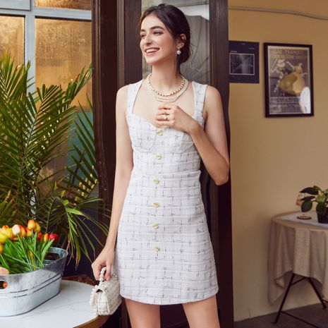Fashionable white dress with low neck NHDE257815's discount tags