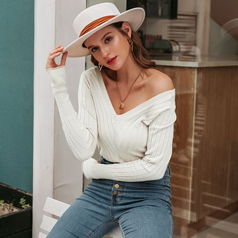 Fashion new simple all-match retro women's sweater wholesale NHDE257816's discount tags