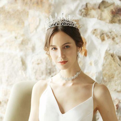 Hot selling fashion bridal headdress retro crystal column pearl big crown headhair NHHS257707's discount tags