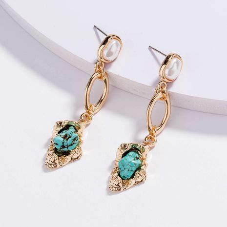 retro creative pearl long natural turquoise pendant earrings wholesale NHAN257860's discount tags