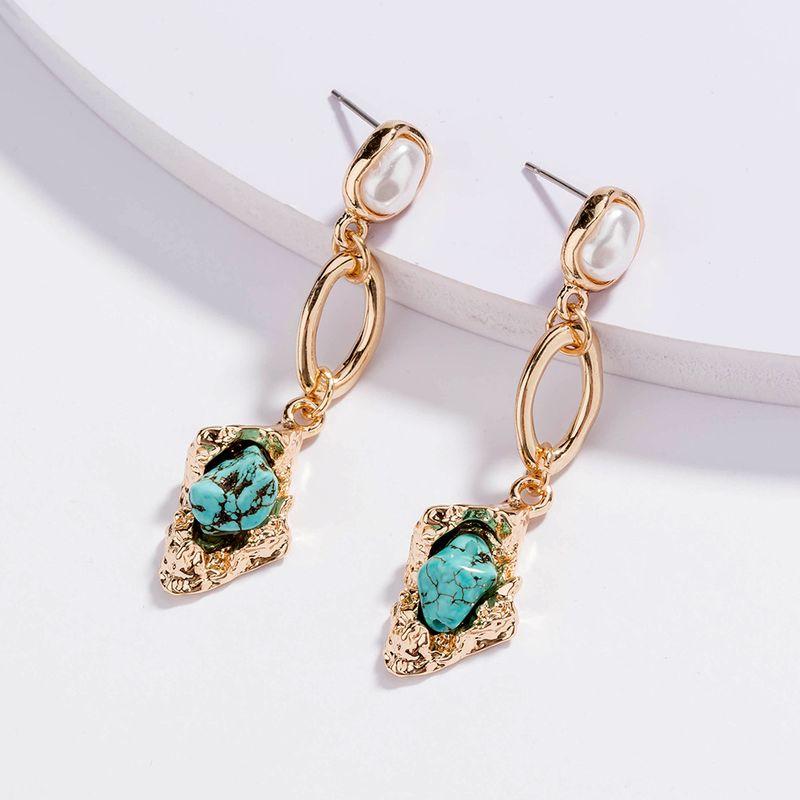 retro creative pearl long natural turquoise pendant earrings wholesale NHAN257860
