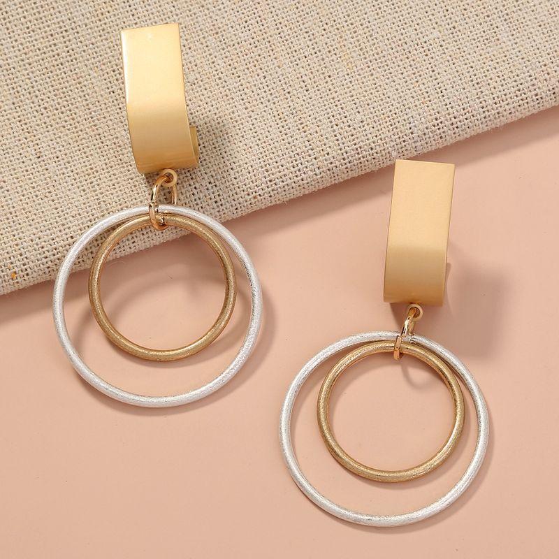 fashion double-layer circle creative exaggerated earlobe earrings wholesale NHAN257862