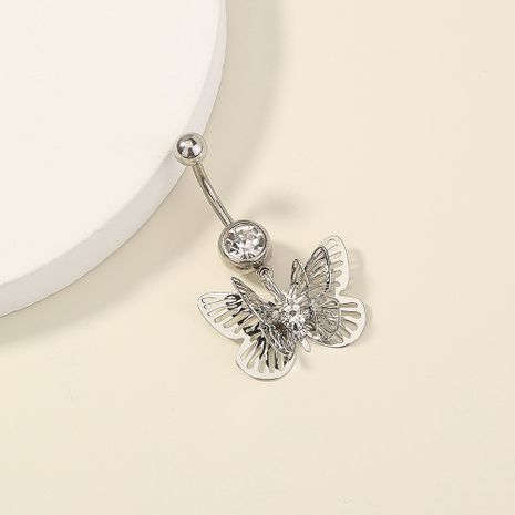 hot-selling diamond-studded multilayer butterfly stainless steel belly button piercing wholesale NHAN257867's discount tags