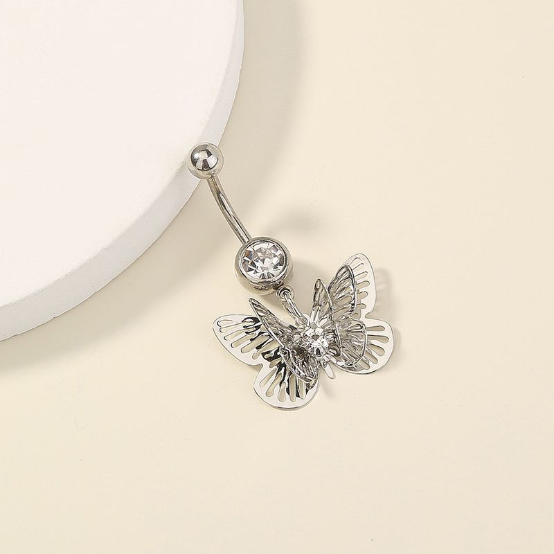 hot-selling diamond-studded multilayer butterfly stainless steel belly button piercing wholesale NHAN257867