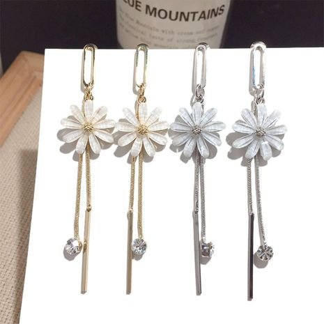 New daisy Silver tassel Needle earrings wholesale NHFT257872's discount tags