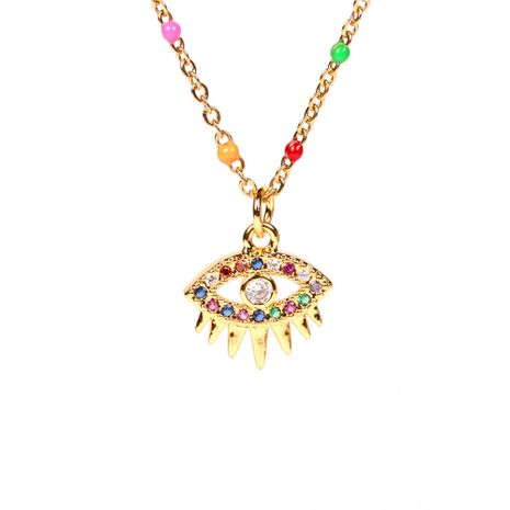 new micro-inlaid color zircon eye devil eye copper pendant necklace clavicle chain NHPY257892's discount tags
