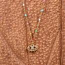 new microinlaid color zircon eye devil eye copper pendant necklace clavicle chain NHPY257892