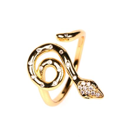 new style fashion micro-inlaid zircon winding snake-shaped open ring wholesale NHPY257899's discount tags