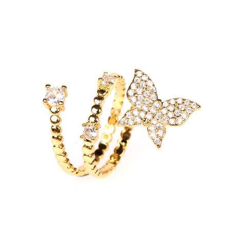 new 18 gold zircon micro-inlaid butterfly finger ring tail ring wholesale NHPY257900's discount tags