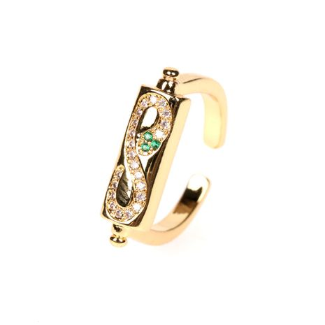 new 8 word open ring fashion zircon snake-shaped index finger ring wholesale NHPY257904's discount tags