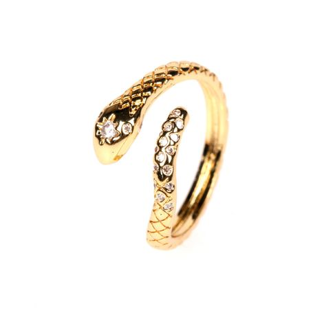 new fashion texture micro-inlaid zircon snake-shaped women's open ring wholesale NHPY257907's discount tags