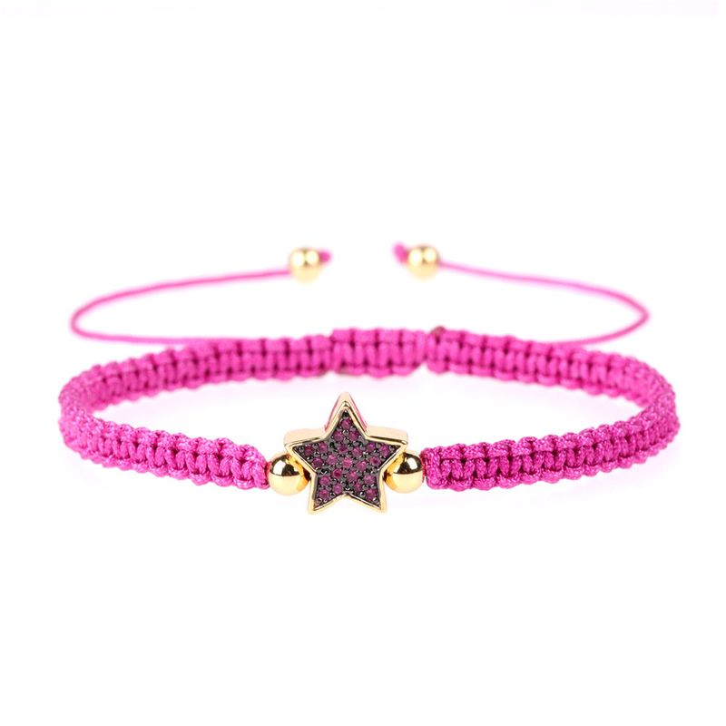 new fashion mix and match hand-woven hand rope real gold plated micro diamond star copper bracelet NHPY257929