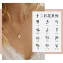 hotselling simple fashion geometric round pendant creative lettering plant flower necklace  NHTF257933