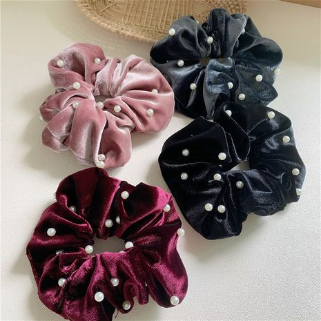 Korean retro  gold velvet fabric head rope simple plate hair scrunchies wholesale NHYQ257955's discount tags