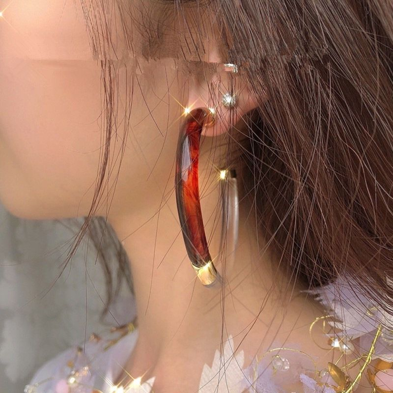 fashionable new large circle transparent color brown double color matching wild earring for women NHYQ257962