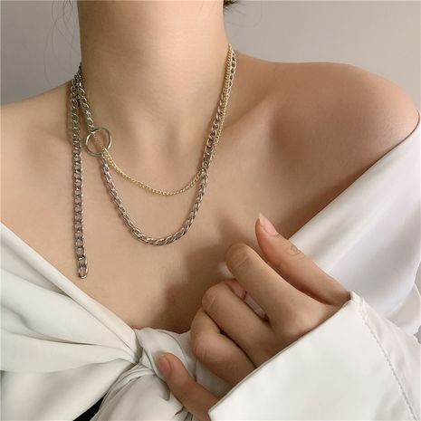 Small fashion new couple gold and silver mixed color alloy necklace clavicle chain  NHYQ257965's discount tags