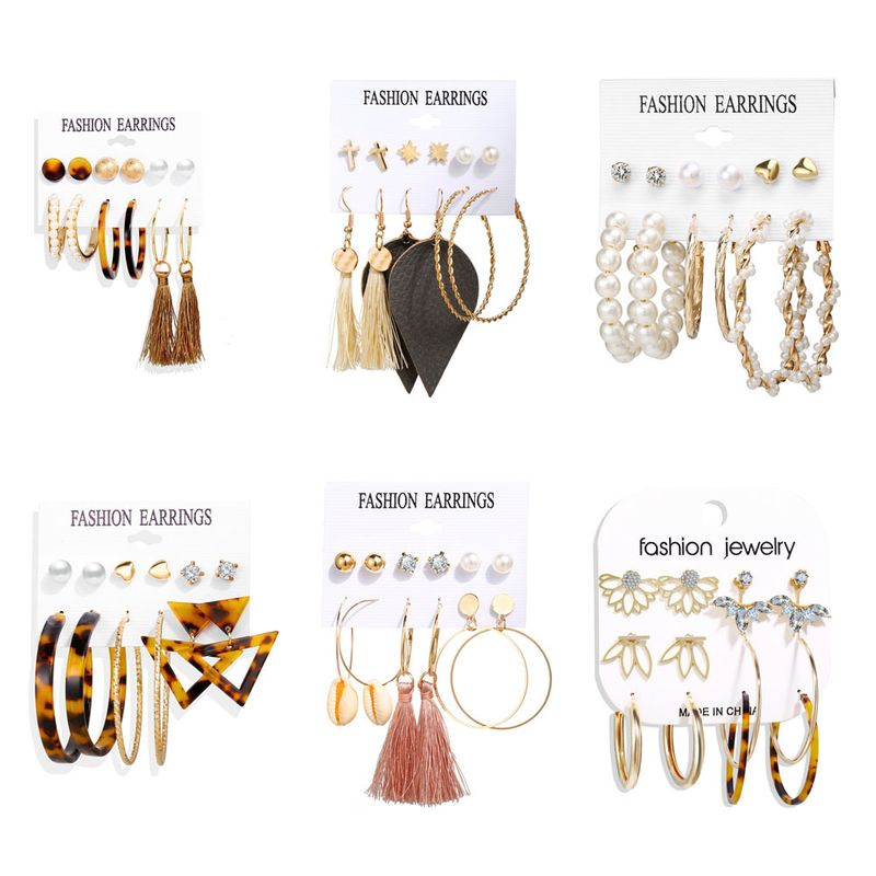 new rhinestone inverted lotus acrylic circle 6 pairs of retro simple earrings wholesale NHYI257981