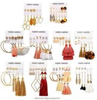 Nueva venta caliente Bohemian Moon Triangle Tassel Earring Set 6 pares al por mayor NHYI257982