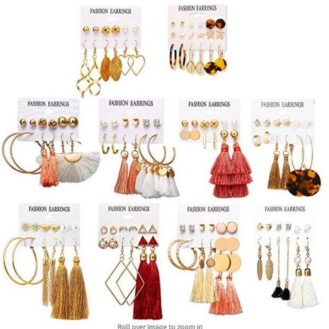 New Hot Sale Bohemian Moon Triangle Tassel Earring Set 6 Pairs wholesale NHYI257982's discount tags