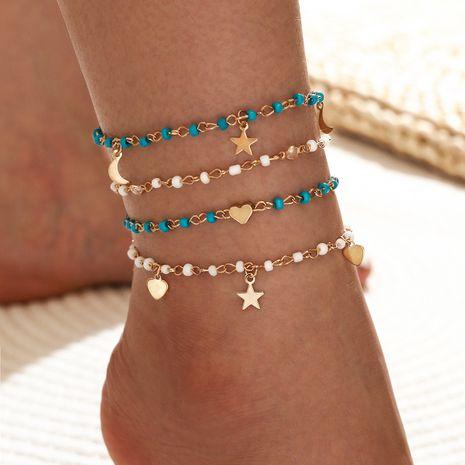 nouvelle chaîne de perles simple à cinq branches étoile lune amour pendentif pompon cheville 4 pièces ensemble NHLL257984's discount tags