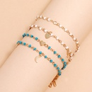 new simple beaded chain fivepointed star moon love pendant tassel anklet 4piece set NHLL257984