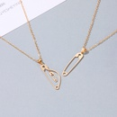 new fashion twopiece ladies modern brooch alloy clavicle chain necklace  NHMO257992