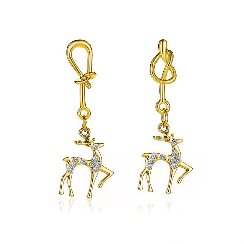 new simple deer fashion Christmas knotted elk earrings wholesale NHMO257993