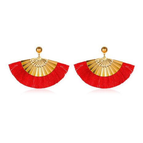new exaggerated frosted fan-shaped bohemian tassel earrings wholesale NHMO258003's discount tags