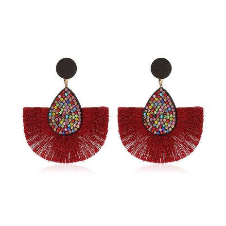 Nuevos pendientes de borla en forma de abanico creativos bohemios de diamantes de colores exagerados retro al por mayor NHMO258006's discount tags