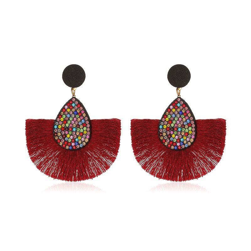 new retro exaggerated colored diamond Bohemian creative fan-shaped tassel earrings wholesale NHMO258006