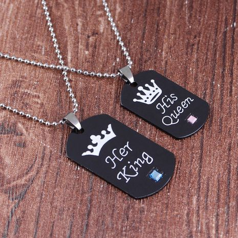 hot sale new fashion couple crown lettering necklace keychain wholesale NHMO258016's discount tags