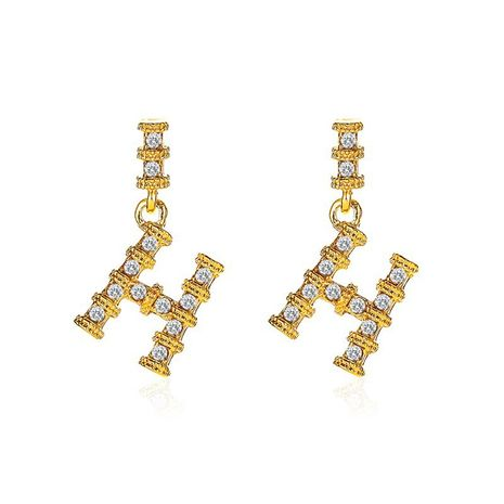 new letter H retro bamboo S925 silver needle earrings wholesale NHMO258021's discount tags