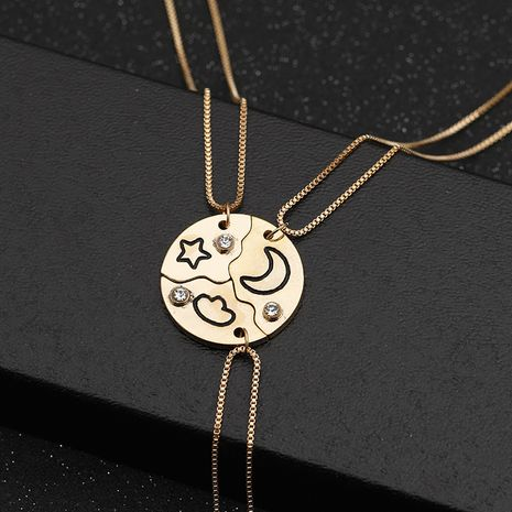 new good friend alloy geometric stitching stars clouds moon alloy necklace  NHMO258025's discount tags