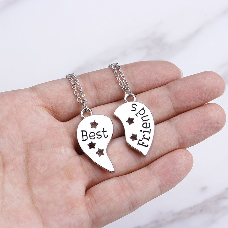 loveshaped star wispy stitching Best Friends english letter necklace wholesale NHMO258033