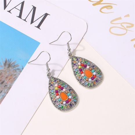new retro colorful water drop ethnic style color sun flower drop oil earrings wholesale NHMO258038's discount tags