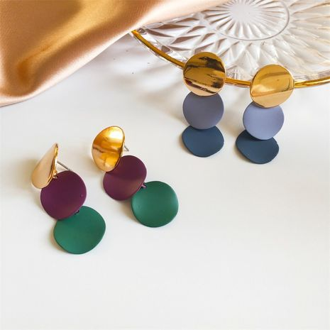 retro fashion new metal disc frosted stitching contrast alloy earrings NHMO258039's discount tags