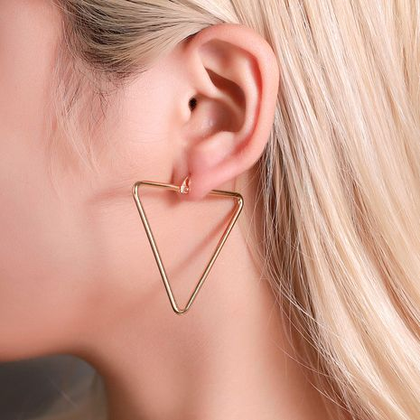 simple geometric exaggerated hollow triangle ear buckle earrings wholesale NHMO258042's discount tags