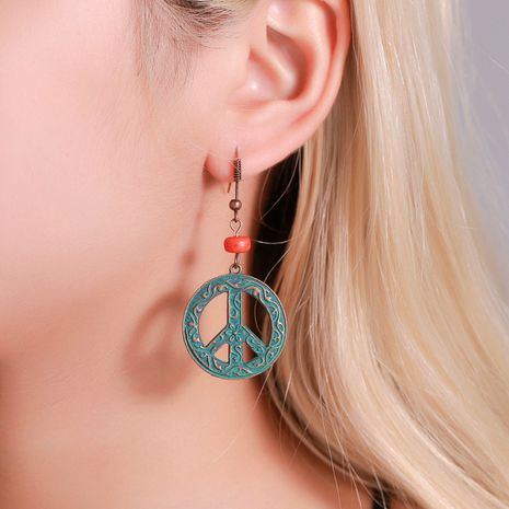 retro peace sign palace style ancient bronze pattern round hollow earrings wholesale NHMO258043's discount tags