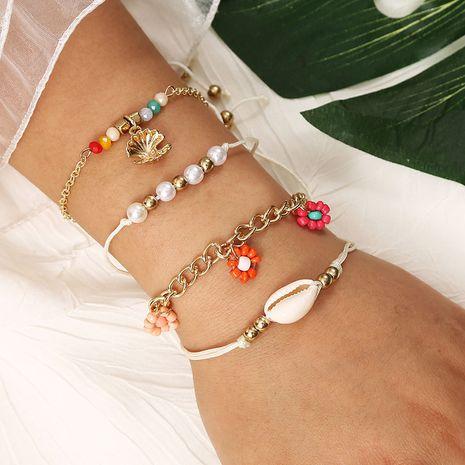 Playa estilo bohemia pulsera de múltiples capas de perlas de arroz de concha de flores tejidas a mano NHLA258049's discount tags