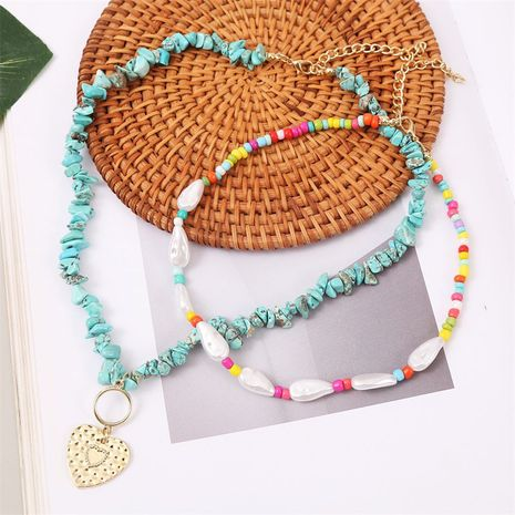 Bohemian woven pearl gravel love trend handmade beaded pendant necklace  NHLA258050's discount tags