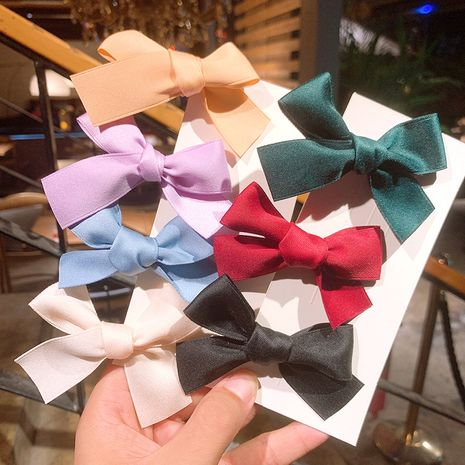 Vintage Satin Bowknot Hairpin Ribbon Double Ponytail Rope Bangs Clip wholesale NHSA258095's discount tags