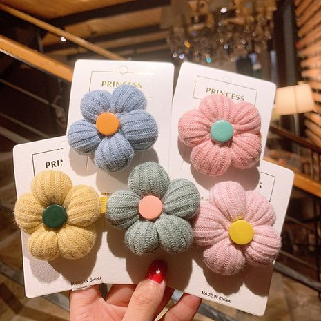 woolen knitted flower hairpin children's  cute side clip  NHSA258100's discount tags