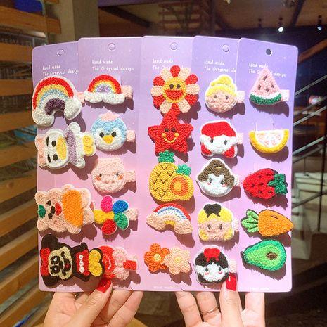 Cute cartoon  wool flower hairpin girls side clip set NHSA258099's discount tags