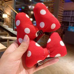 Korean new three-dimensional bow polka dot red duckbill clip hairpin wholesale NHSA258102